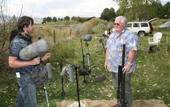 Erik Aadahl talking with retired Colorodo police officer recording weapons for military scenes small