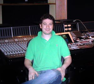 The author in a room equipped with an Avant series Solid State Logic digital console.  This was sort of a final stage in the transition to a completely digital workflow (and control surfaces).