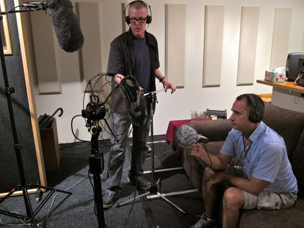Wayne (l) & Fabian recording fan for Plaza Hotel (photo Jenny Ward)