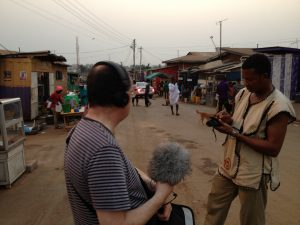 """Noise"" producer, Matt Thompson, recording on the streets of Accra, Ghana."