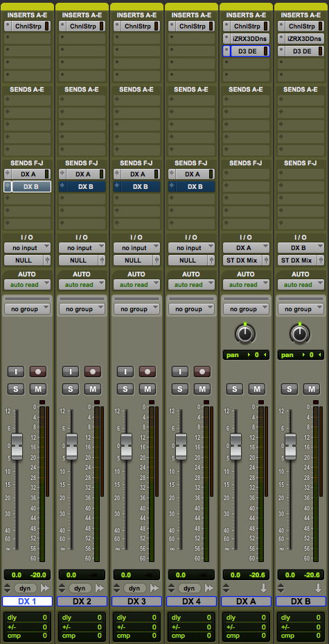 The final product, dialog source tracks on the left and dialog processing chains on the right.