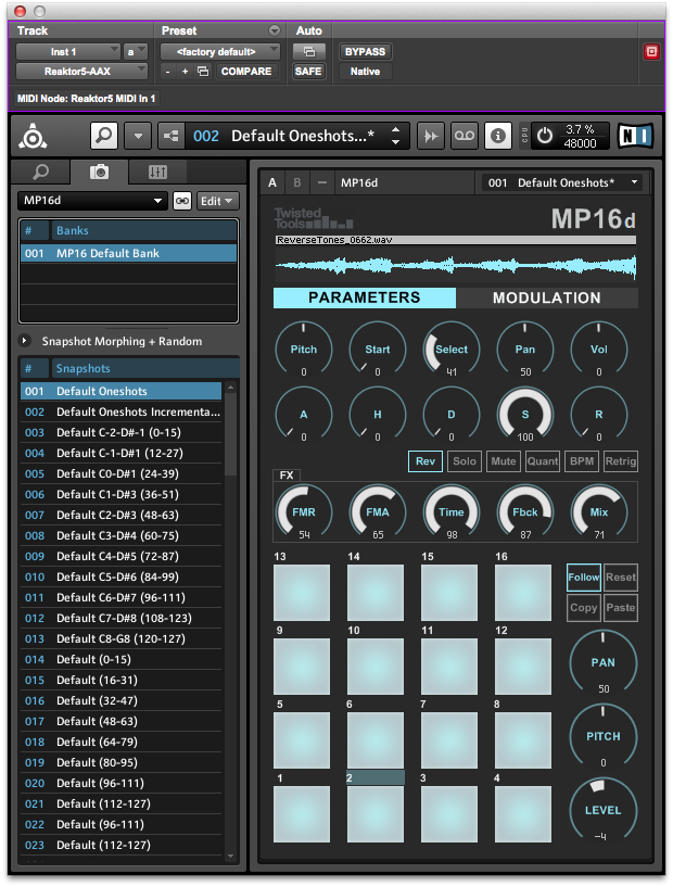 The MP16d in Reaktor running as an AAX plugin in Pro Tools 11