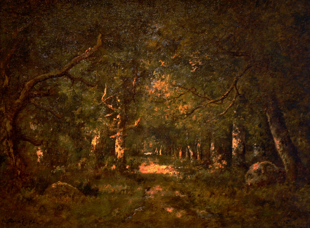 Forest Scene by Narcisse Diaz de la Peña, photo by flickr user Cliff. Used under Creative Commons license. Click image to view source.