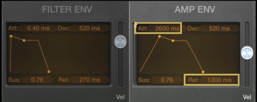 "Logic Pro's ""Retro Synth"" - Env Gen Controls -"