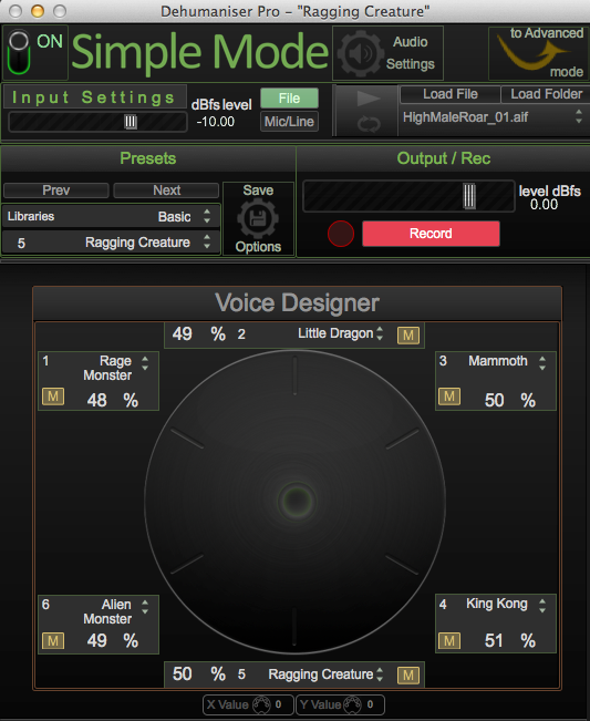 Simple Mode with the Voice Designer matrix at the bottom