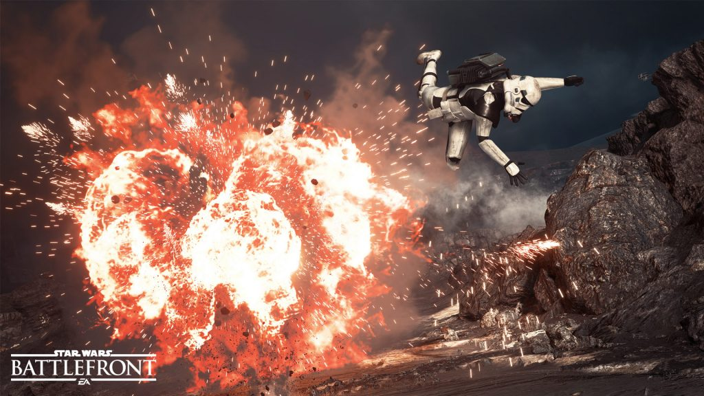 Stormtrooper is thrown by the blast of a massively destructive grenade called the Thermal Imploder