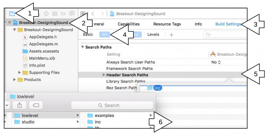 Add the 'inc' folder to the Header Search Paths in the Build Settings