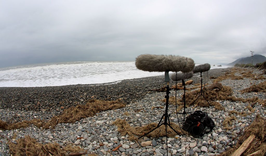 Three boom mics sit on a rocky beach facing a choppy sea underneath a blanket of dark clouds. Article by Adriane Kuzminski.