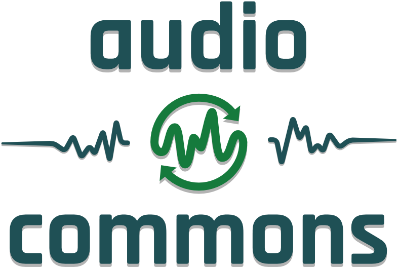 The words Audio Commons sits above and below three sound waves. The ends of the middle waveform circle around it much like the recycling symbol. Article by Adriane Kuzminski.