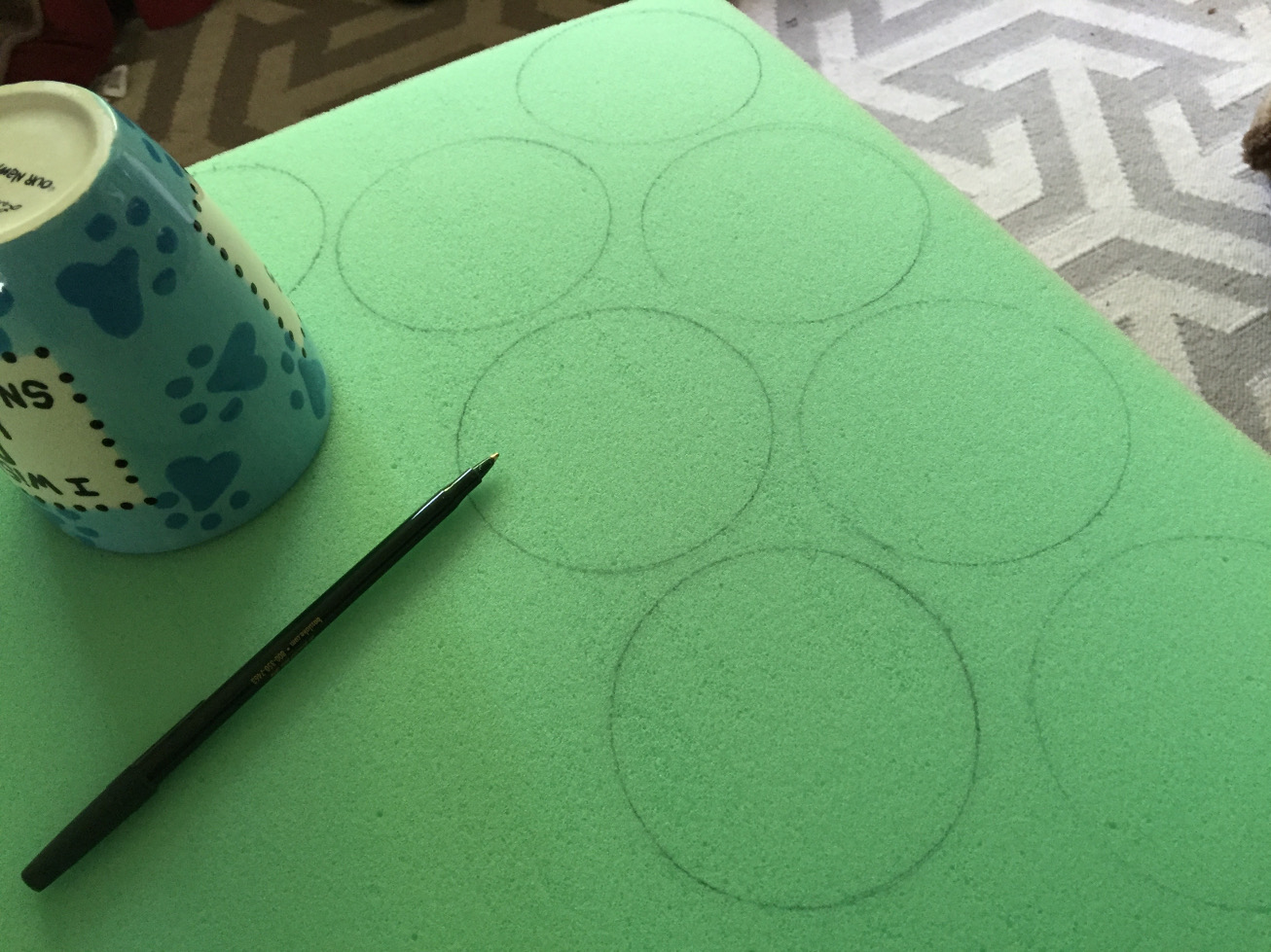 Tracing circles on foam