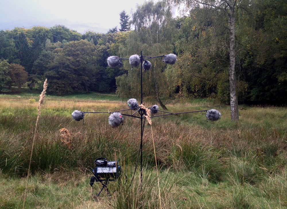Several boom mics extend from all sides of a complex tripod to record 360 degree audio in a field. Article edited by Adriane Kuzminski.
