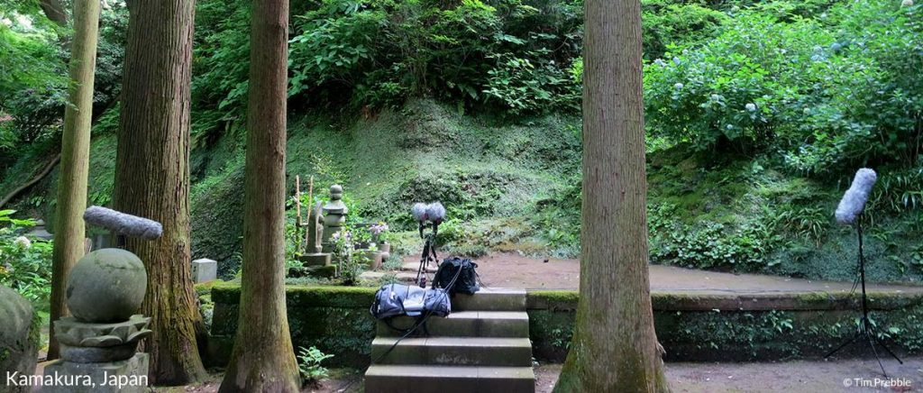 A pair of boom mics sit on a platform deep in the rainforests of Kamakura, Japan. Article edited by Adriane Kuzminski.