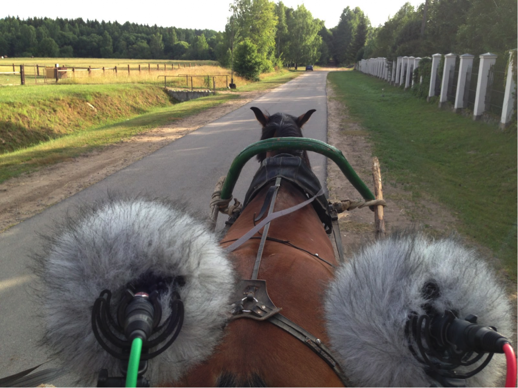 From the stage, two mics face a horse pulling the carriage in the countryside.