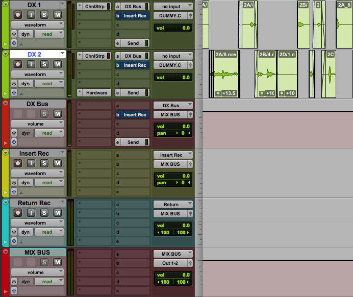 Tracks setup for recording the processed audio, both from an insert and a return.