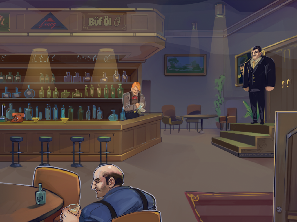 A man enjoys a drink in a pub while a VIP guard and bartender work.