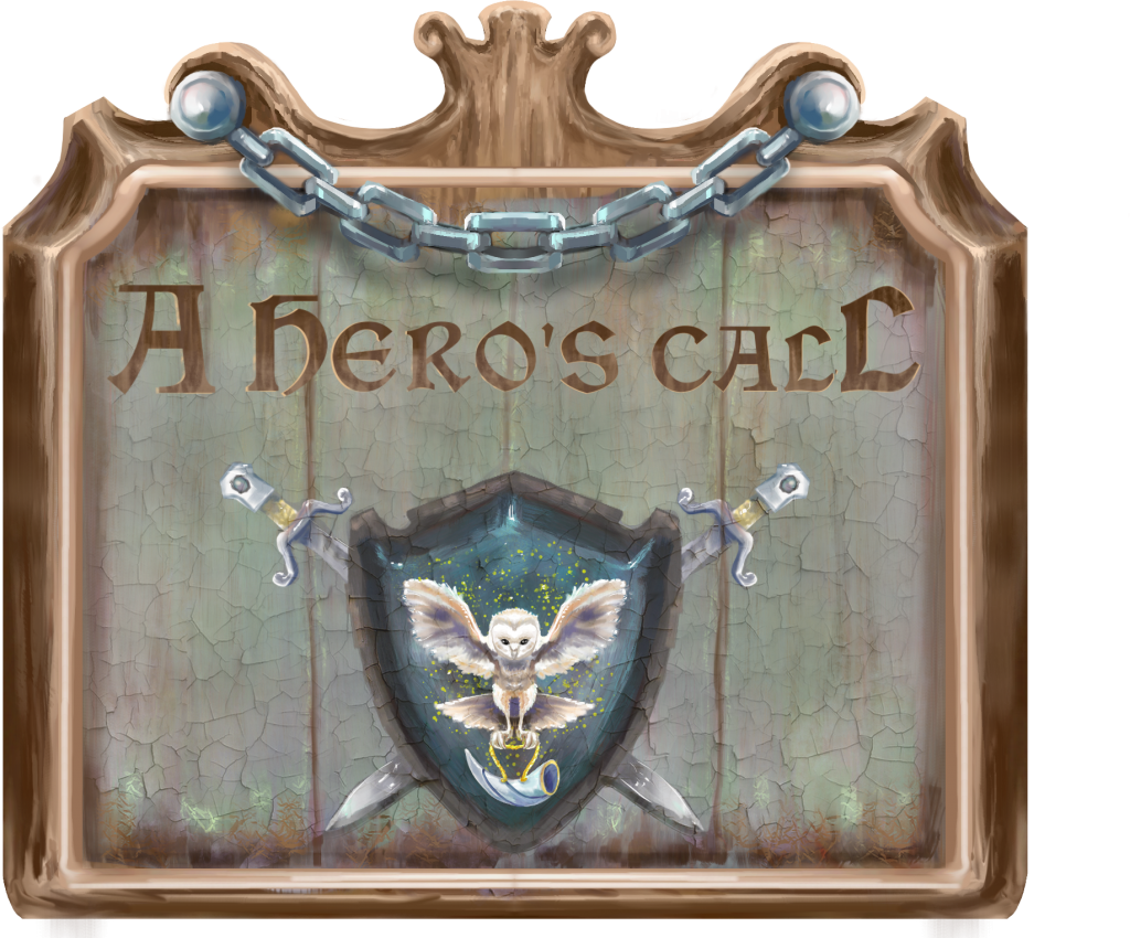 """A sign hangs painted with a mystical coat of arms and the words """"A hero's call"""". Interview by Adriane Kuzminski."""
