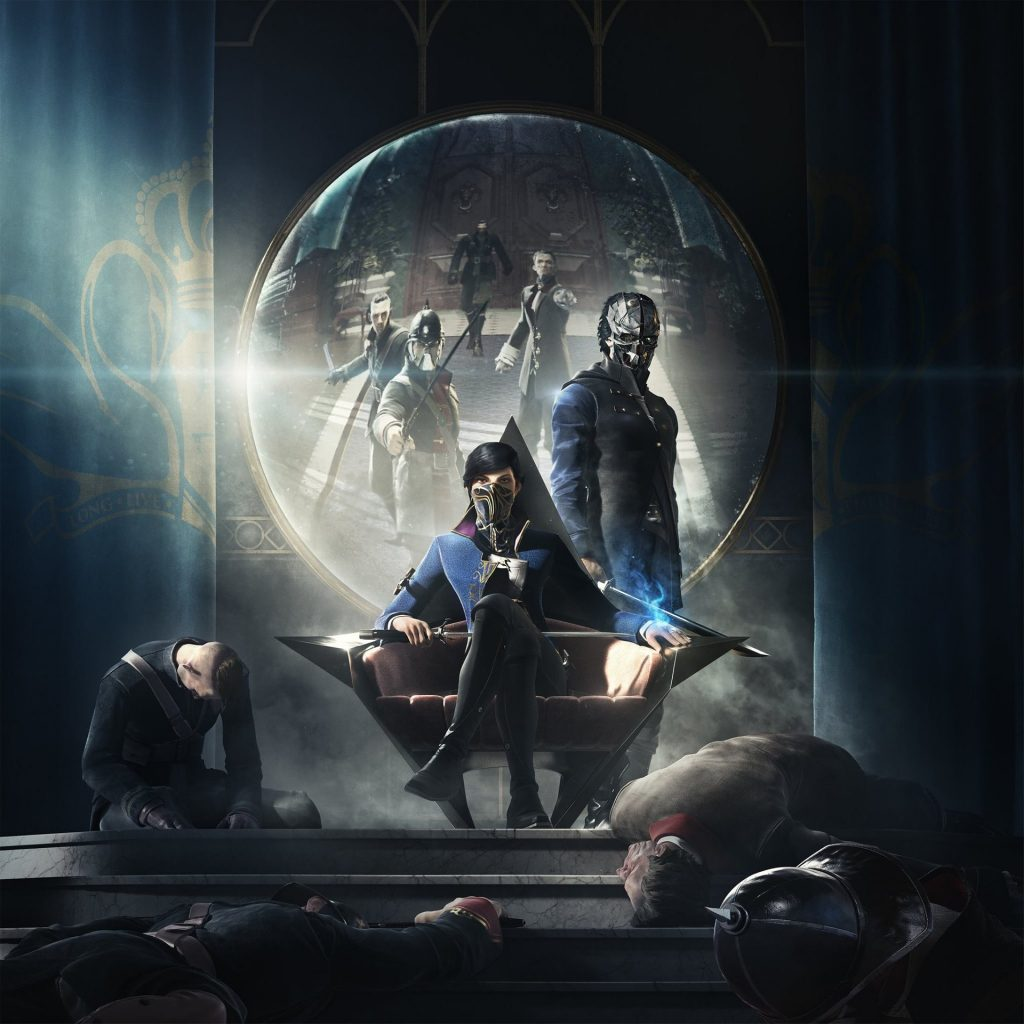 Emily sits on a pointed throne with a masked Corvo at her side, surrounded by dead men.