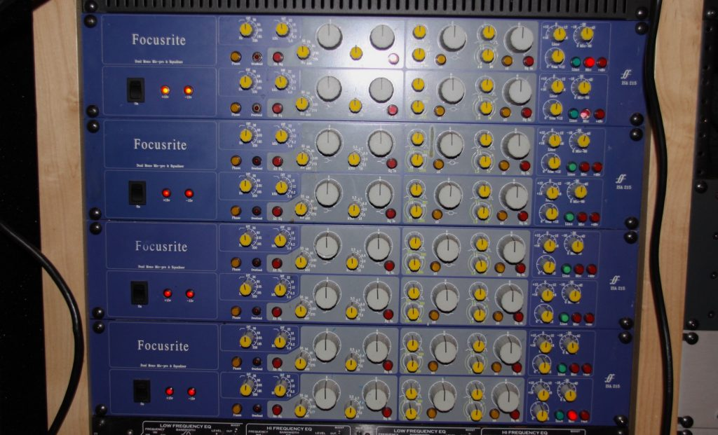 A row of Focusrite preamps.