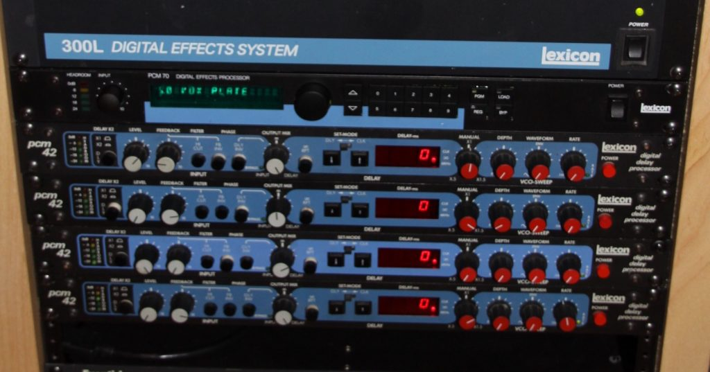A row of Lexicon PCM 42 delays.