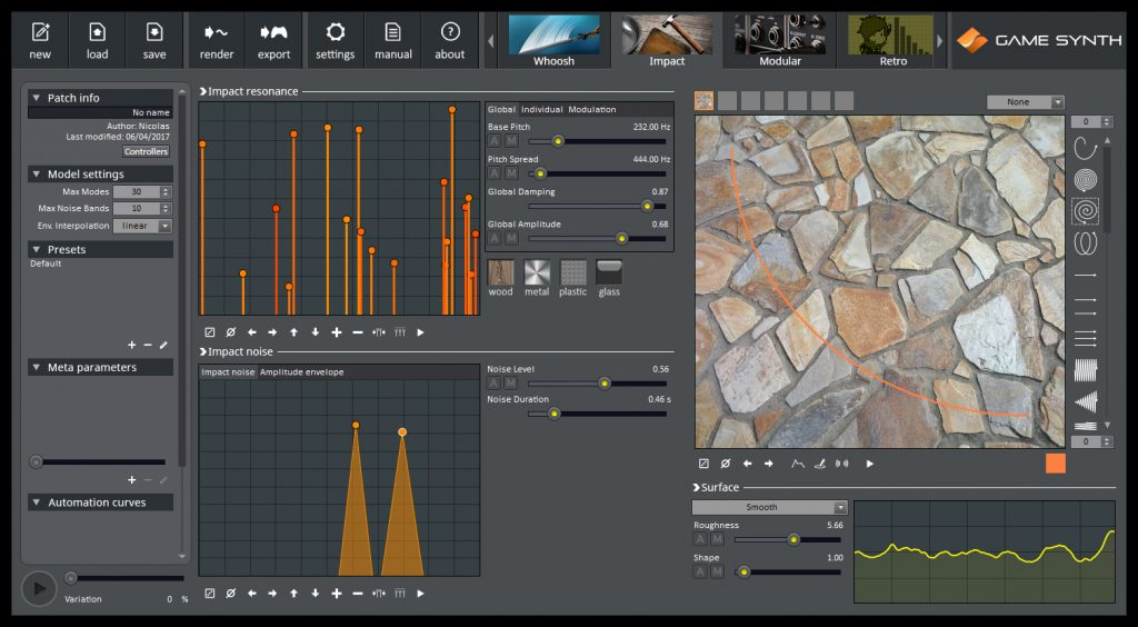 GameSynth creates whooshes, impacts, retro sounds and more with several parameters and performance options