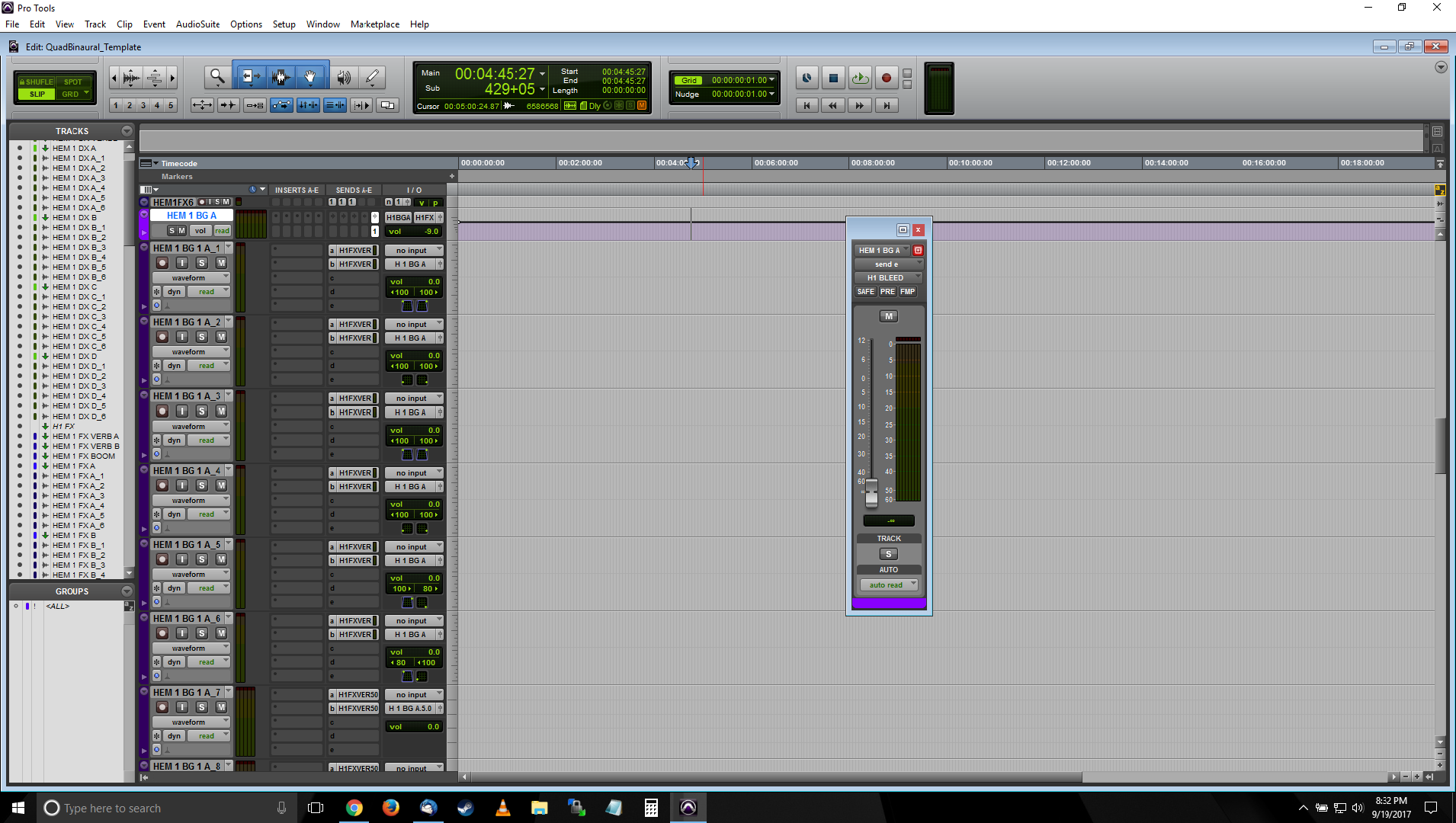 A screenshot of Pro Tools showing the BG predub