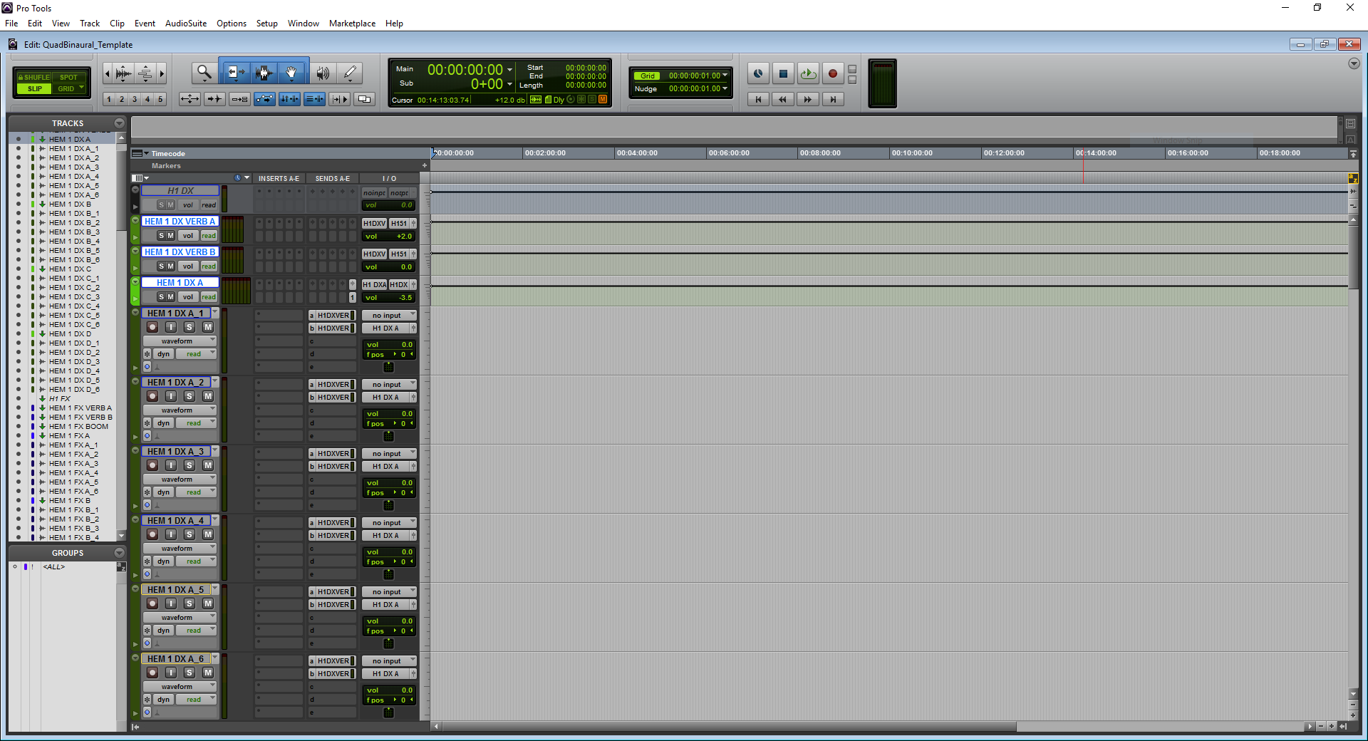 A screenshot of Pro Tools showing the dialog predub