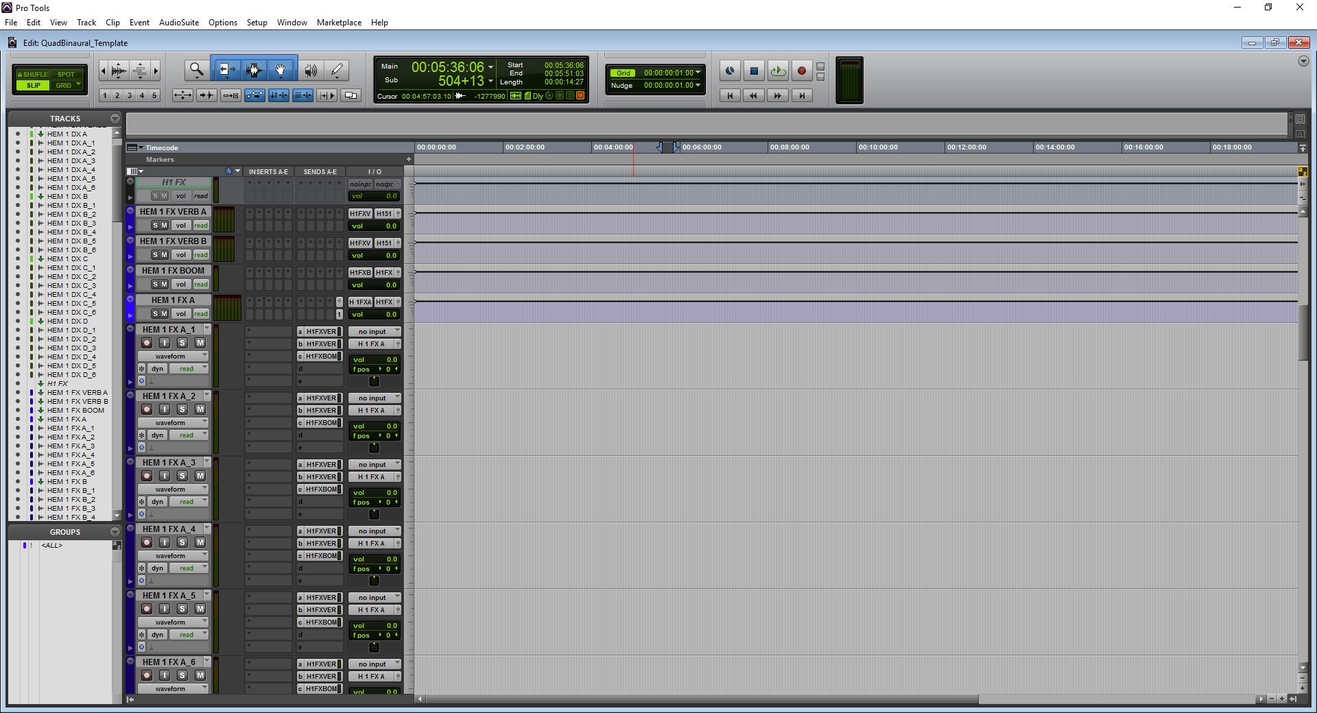 A screenshot of Pro Tools showing the FX predub