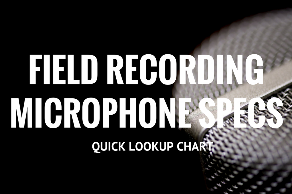 In bold letters: Field Recording Microphone Specs Quick Lookup Chart