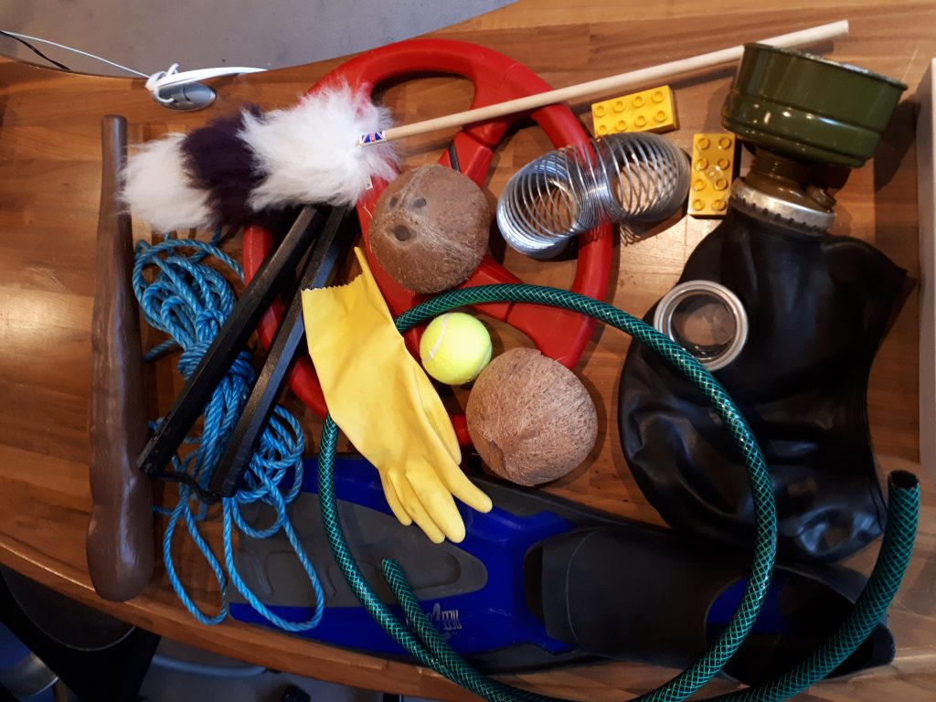 An assortment of Foley props from the collection of Jungle Studios.