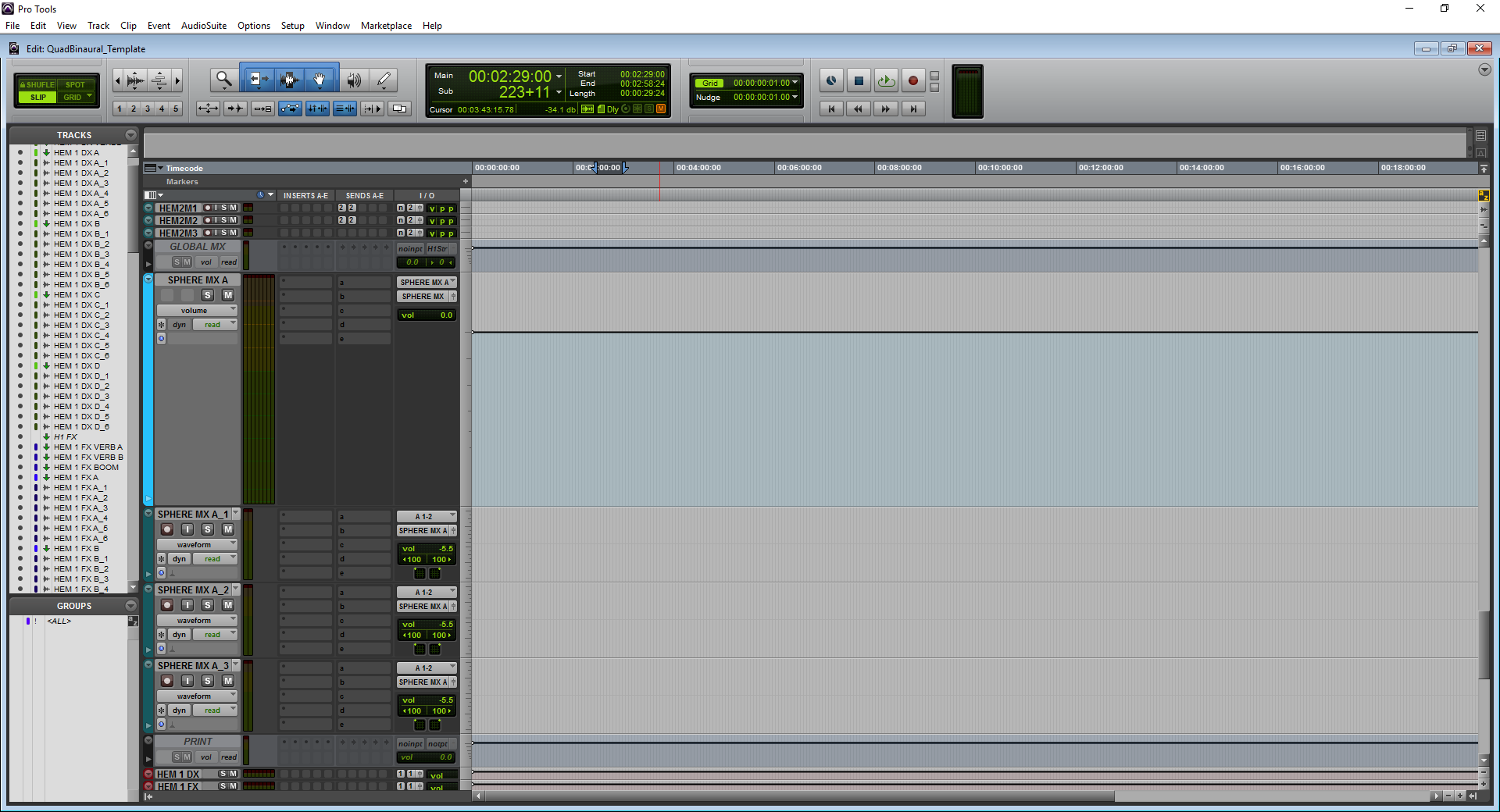 "A screenshot of Pro Tools showing an additional MX predub used for ""global"" music mixing"