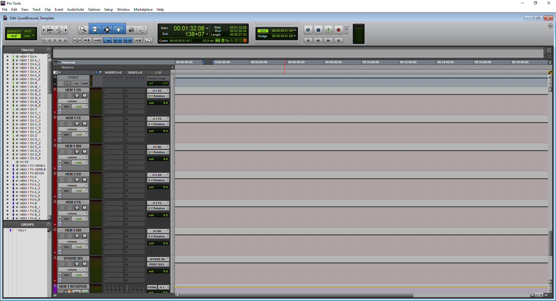 A screenshot of Pro Tools showing the master routing section that precedes the rotation controls