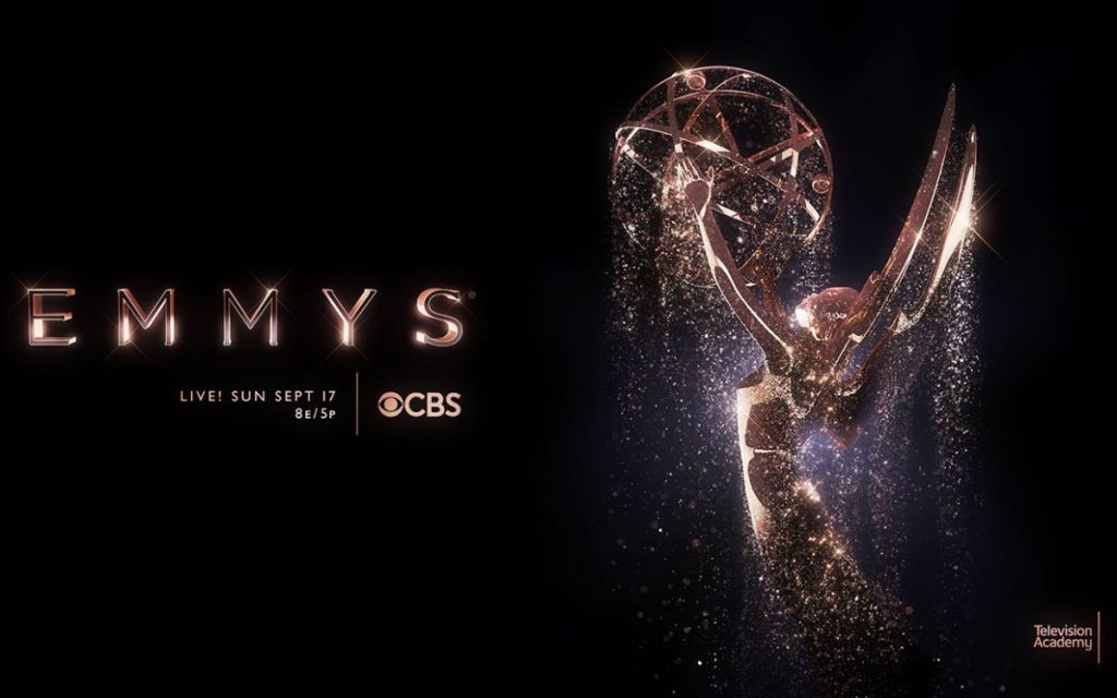 """""""Emmys on CBS"""" - An Emmy statue shining with dripping water"""