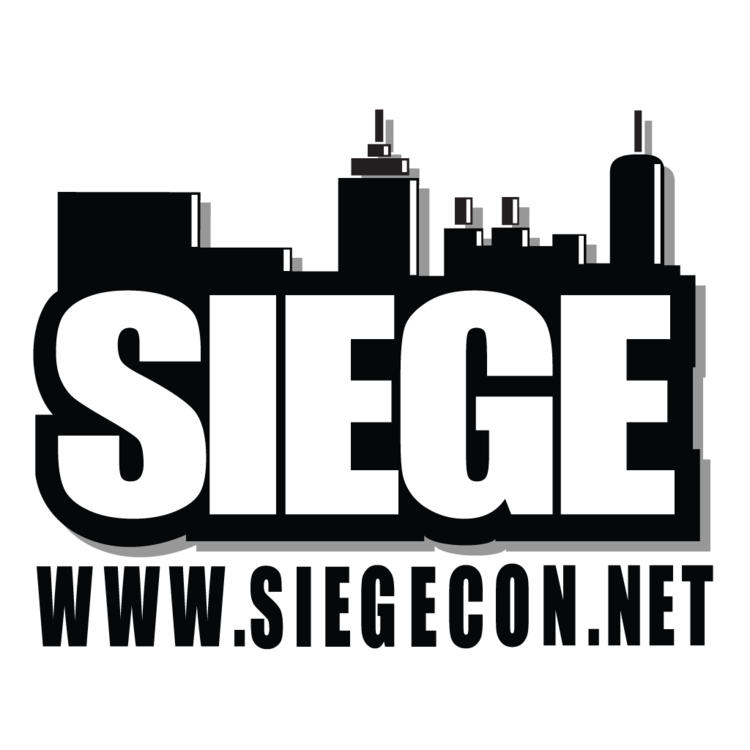 Tall urban buildings above the word Siege, www.siegecon.net