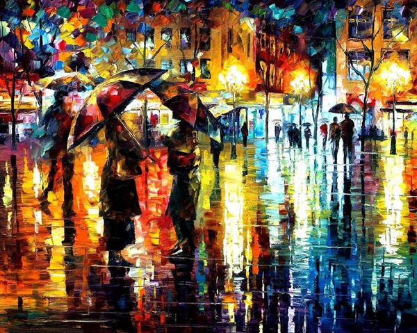 Two people stand with umbrellas in a rainy European city in this brightly-colored oil painting.