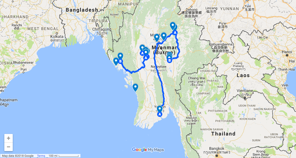 A travel route that covers most of Myanmar