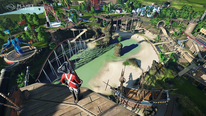A man in an English Redcoat looks into a vast and bustling theme park.
