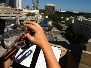 """Station 8, atop the Downtown Baptist Church steeple, looking south towards the """"sweet spot""""."""