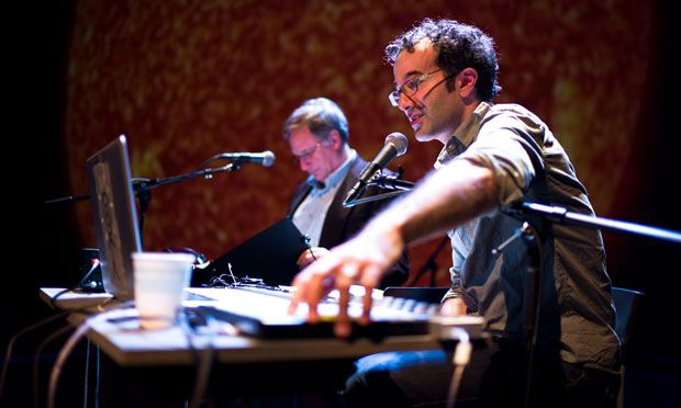 Jad, front, with Co-Host Robert Krulwich at a live show (Radiolab/WNYC)