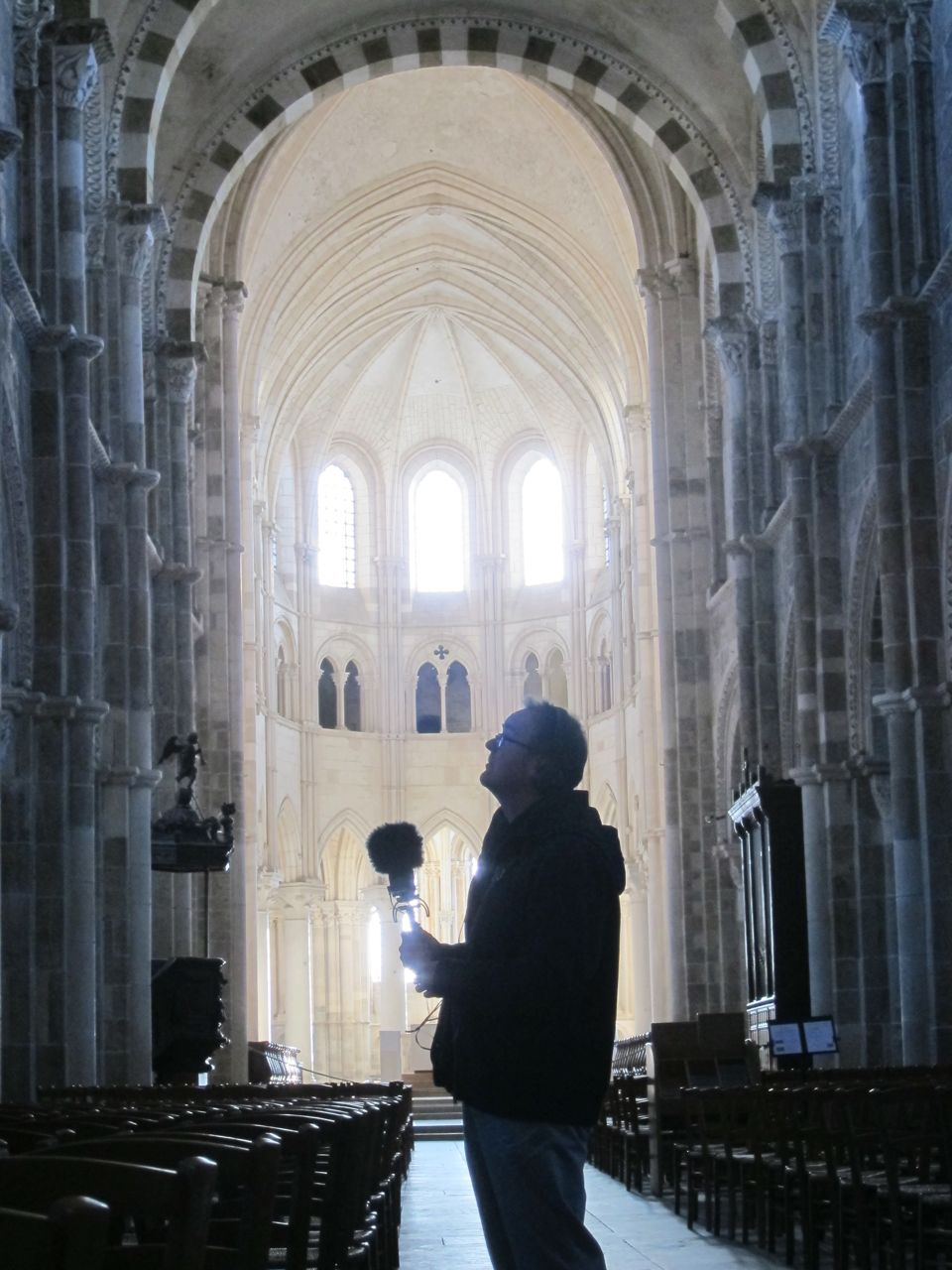 David Hendy recording in the Abbey at Vezelay, France.