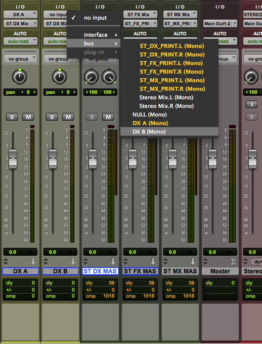 Routing the re-assign buses into the newly-created aux tracks for the processing chains.