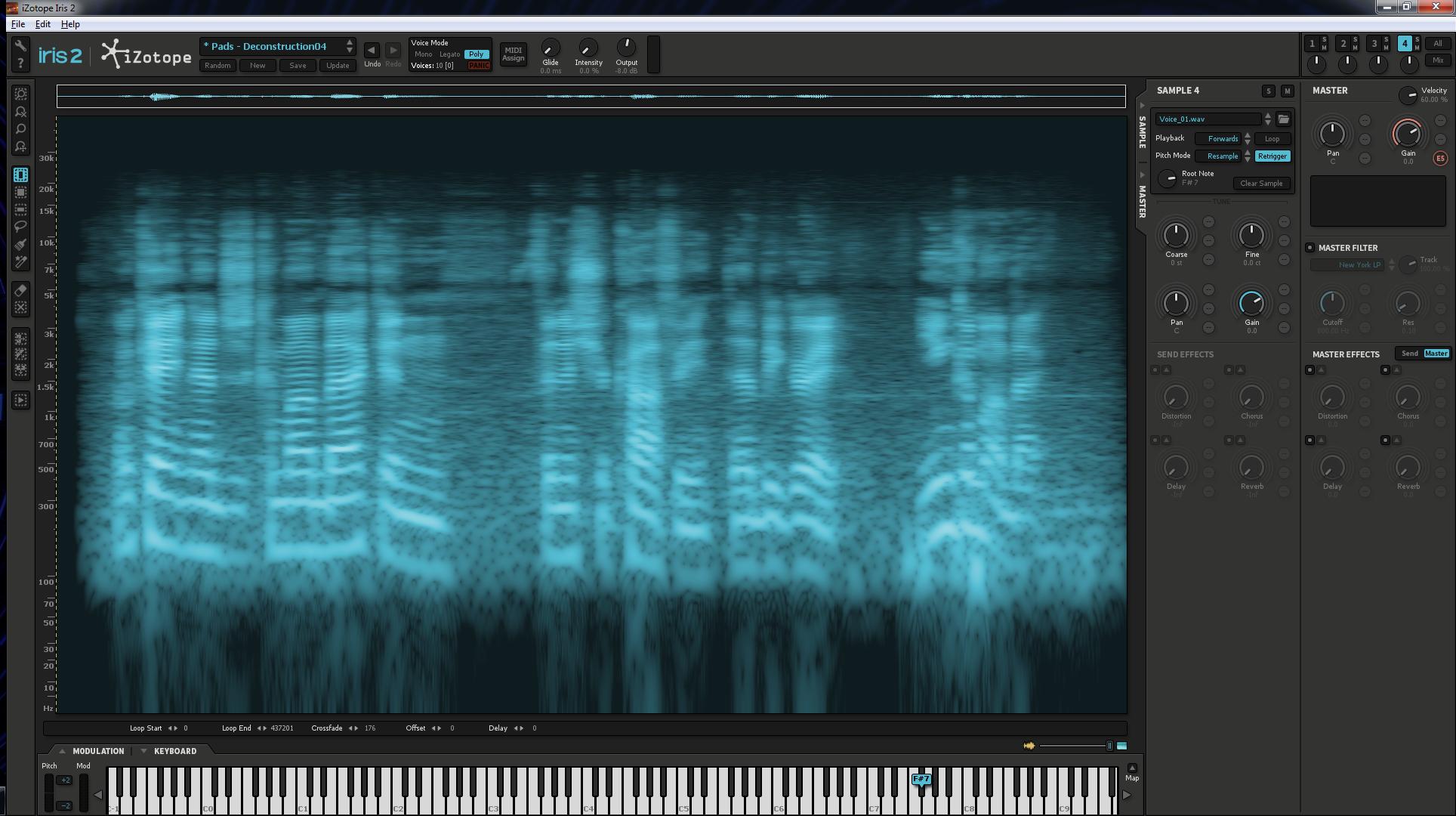 Harmonics structure of voice recording