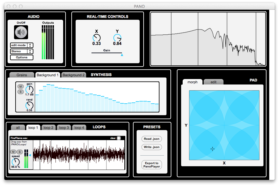 Figure 3: PANO Composer contains a programmable X/Y pad, 2 granulators, a 32-subband additive noise generator, 4 subtractive noise generators and 4 loopers.