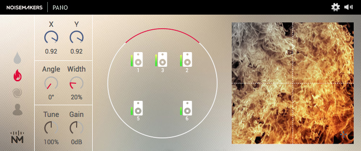 Figure 1: PANO is a synthesizer for designing Foley effects, based on procedural audio, real samples, and spatialisation. Factory presets include liquid, fire and wind sounds. All sorts of spatialized sound textures can be achieved thanks to PANO Composer.