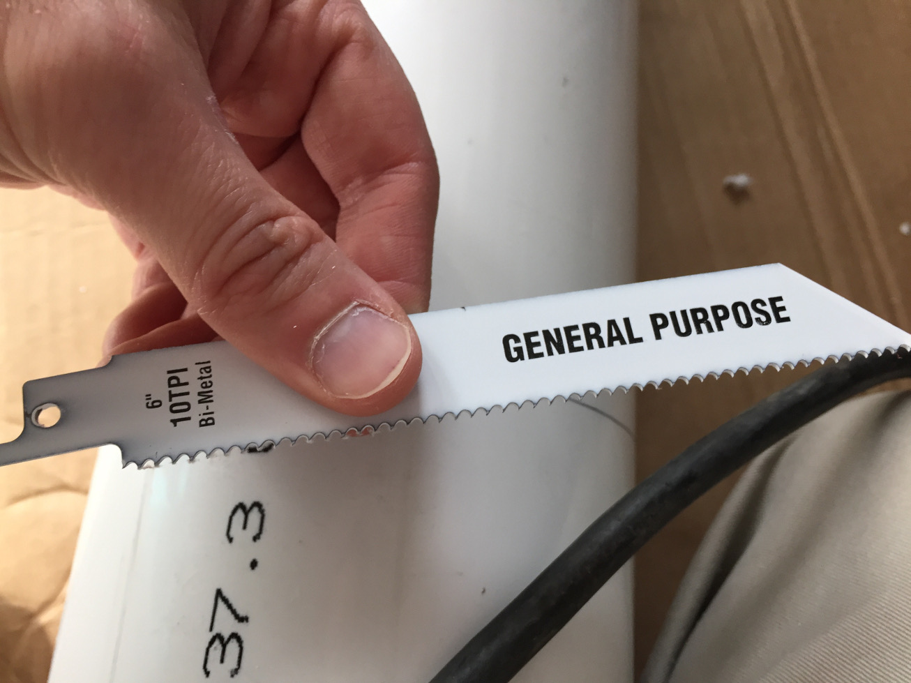 "Sawzall blade used to cut pipe. 6"" general purpose blade."