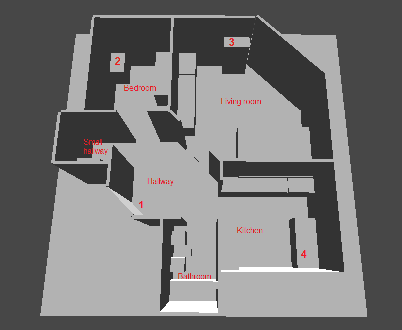 A top-down view of the apartment used for navigation for testing Audiction.