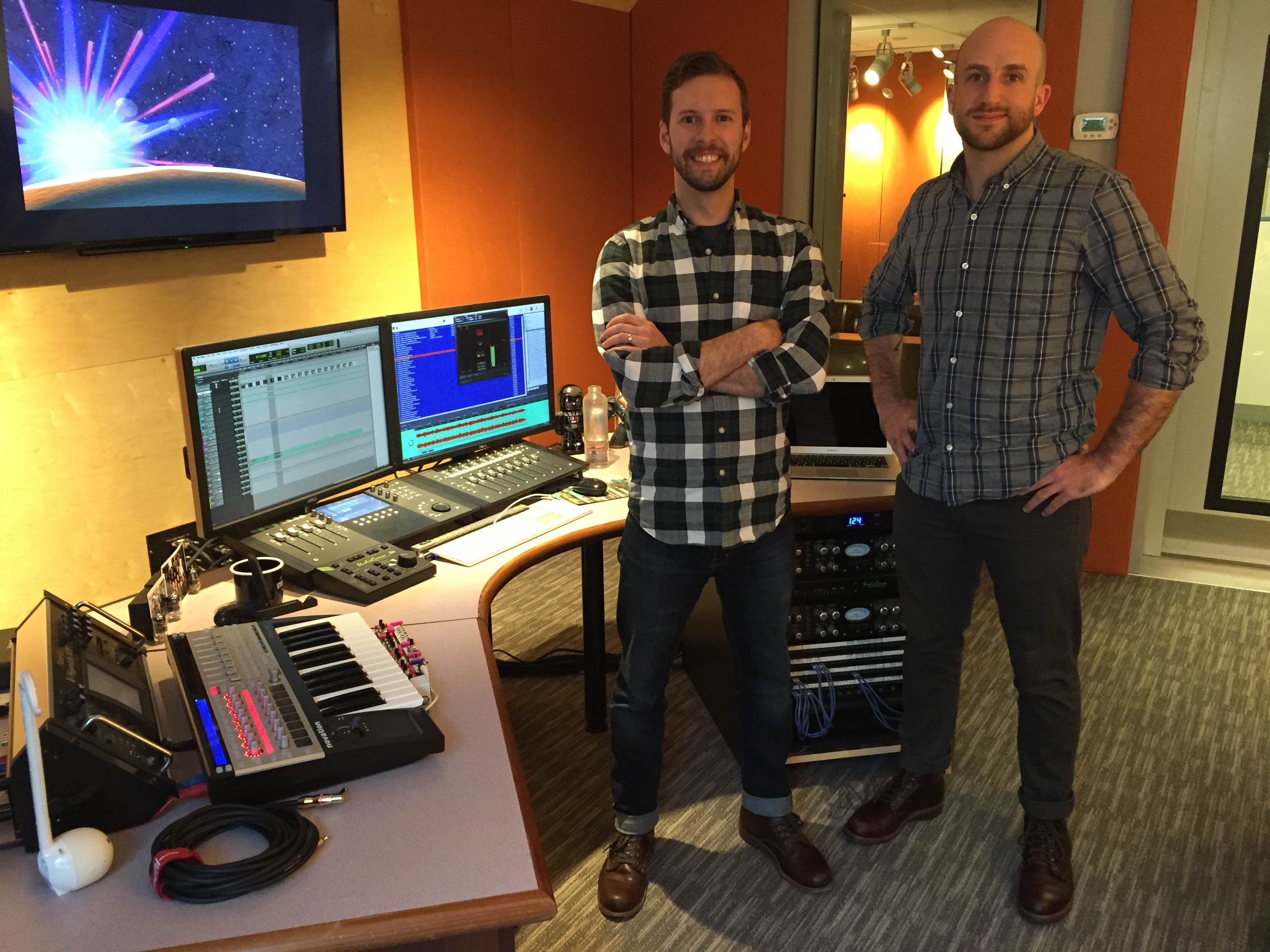 Kevin Dusablon (left) and Mike Forst (right) standing together in Pullstring's Franklin James Clary studio.