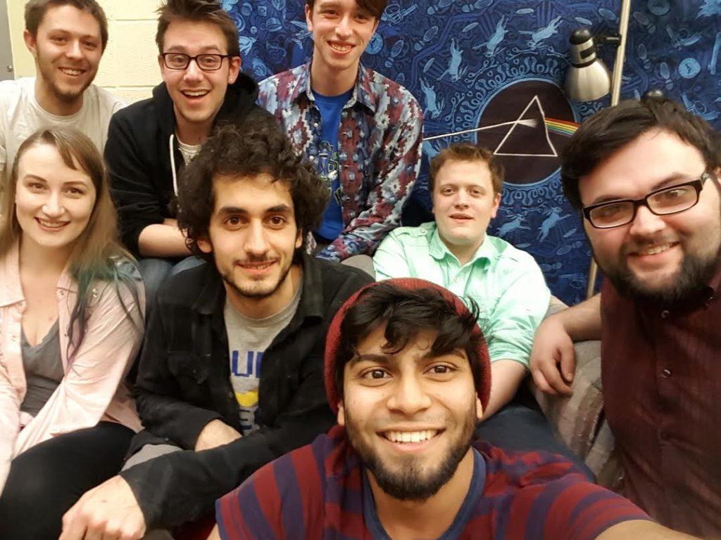 The eight-person team of BlackoutVR take a selfie. Interview by Adriane Kuzminski.