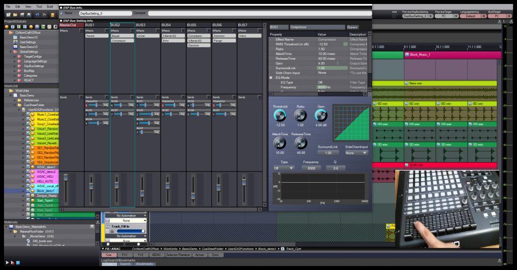 A MIDI controller controls a bus fader