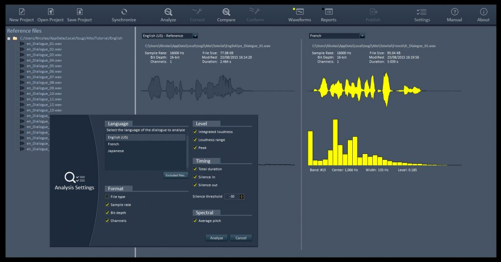 Alto Studio analyzes localization, converts to different formats, and controls levels and timing.