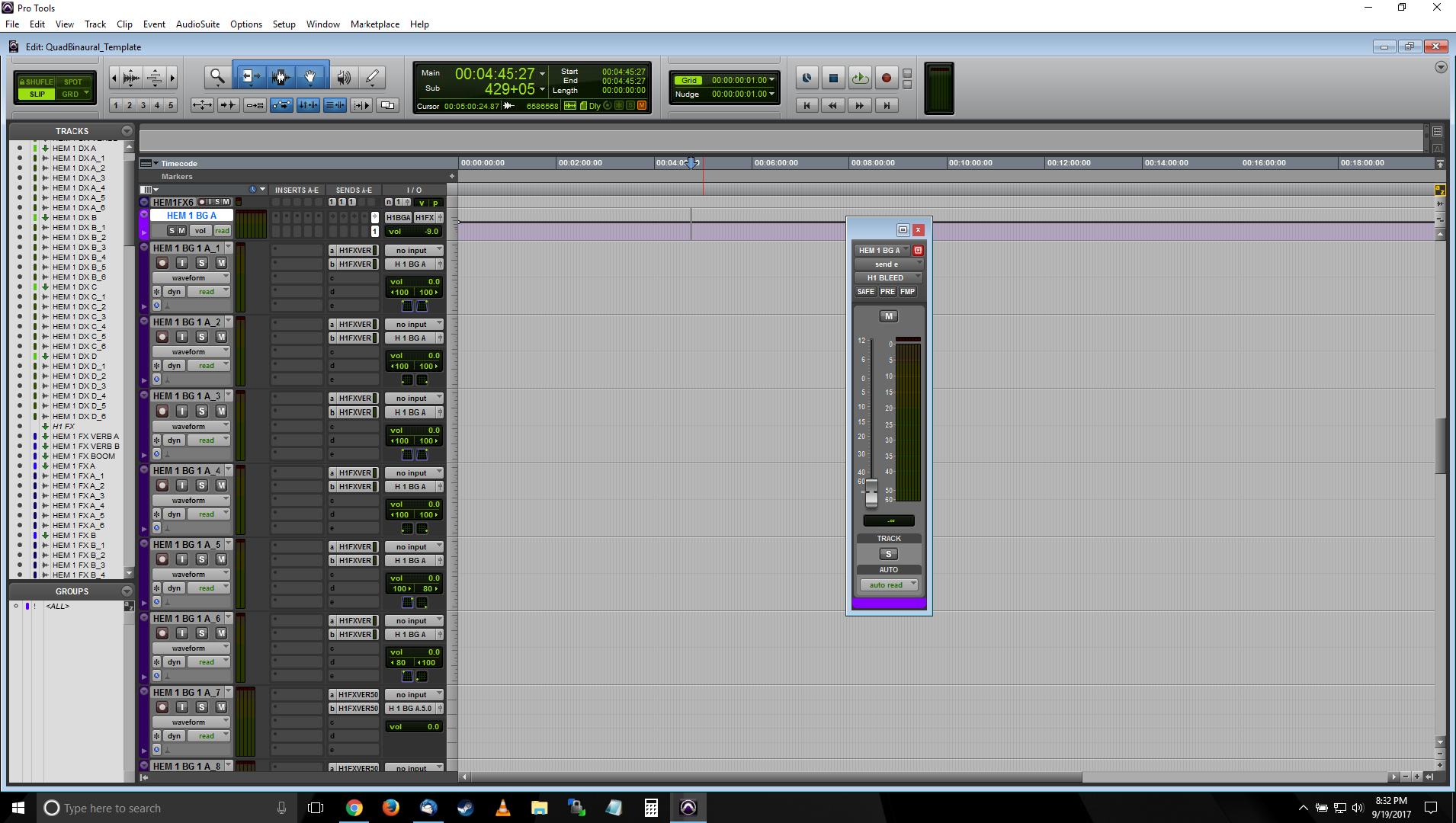 A screenshot of Pro Tools showing the BG predub